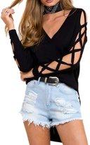 Simplee Apparel Women's Cold Shoulder V Neck Side Slit Pullover Sweater Jumper