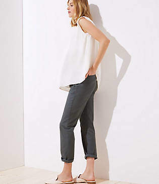 LOFT Petite Maternity Roll Cuff Girlfriend Chinos