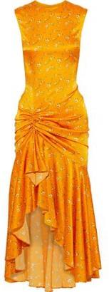 Caroline Constas Lonnie Ruched Floral-print Silk-blend Satin Dress