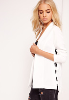 Missguided Crepe Lace Up Blazer White