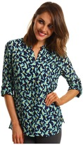 Vince Camuto TWO by 3/4 Sleeve Split Neck Shirt (New Navy) - Apparel