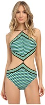 Michael Kors Mini Deco Cube Strappy High Neck Monokini