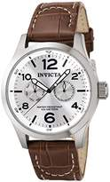 Invicta Men's Quartz Watch with Silver Dial Chronograph Display and Brown Leather Strap 0765