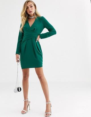 ASOS DESIGN v neck drape front mini dress in green
