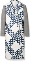 Calvin Klein Checked Wool-blend And Printed Quilted Cotton Coat - White