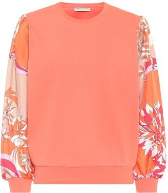 Emilio Pucci Silk-trimmed cotton sweatshirt
