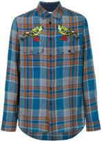 Gucci Tartan bird appliqué shirt - men - Cotton/Polyamide/Wool - 15