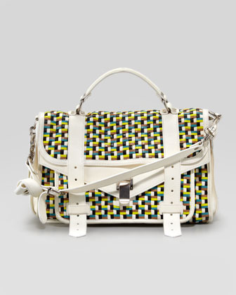 Proenza Schouler PS1 Woven Leather Medium Mailbag Satchel, Sunshine/White