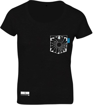 Anchor & Crew Noir Black Explorer Print Organic Cotton T-Shirt (Womens)