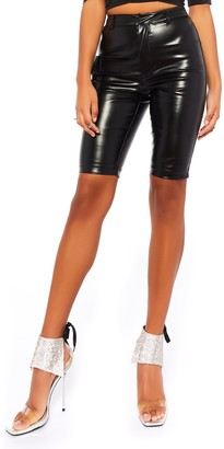 Public Desire Uk Faux Leather Cargo Shorts