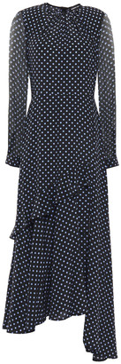 Markus Lupfer Asymmetric Ruffled Polka-dot Silk Crepe De Chine And Chiffon Midi Dress
