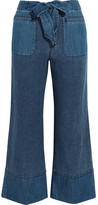 J.Crew Gaffney Linen-blend Chambray And Denim Wide-leg Pants - Blue