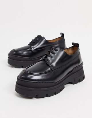 And other stories & lace up chunky sole loafers in black