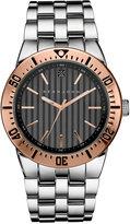 Sean John Men's Black Diamond Collection Diamond Accent Silver-Tone Bracelet Watch 48mm 10030888
