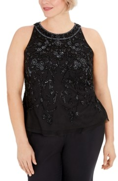 Adrianna Papell Plus Size Embellished Top