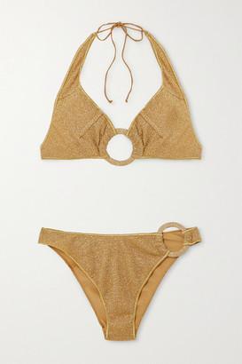 Oseree Embellished Stretch-lurex Halterneck Bikini - Gold