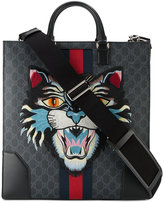 Gucci Angry Cat Embroidered Monogram Print Tote - men - Cotton/Leather - One Size