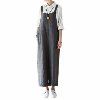 young Forever Women's Dungarees Loose Casual Baggy Sleeveless Overall Long Jumpsuit Playsuit Trousers Plus Size Dungarees (Grey XL)