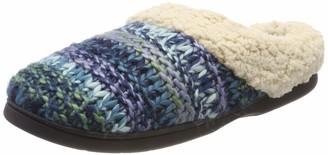 Dearfoams Women's Chunky Knit Scuff W/Plush Cuff Open Back Slippers