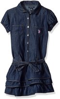 U.S. Polo Assn. Little Girls Tiered Ruffle Denim Dress