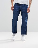 Asos Straight Jeans With Pockets In Mid Blue