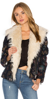 Free People Jaquard Wool & Faux Fur Jacket