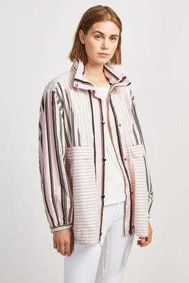 French Connection COTTON MIX STRIPE BOMBER JACKET