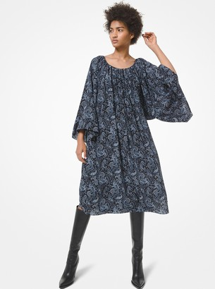 Michael Kors Collection Paisley Silk Crepe de Chine Smock Dress