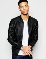 Pull&bear Bomber Jacket In Faux Leather