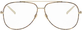 Gucci Gold and Tortoiseshell Aviator Glasses
