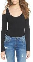 Socialite Women's Cold Shoulder Ribbed Bodysuit