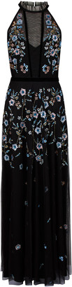Under Armour Antonia Floral Embellished Maxi Dress in Recycled Fabric Black