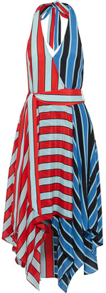 Alice + Olivia Canton Striped Silk Crepe De Chine Halterneck Dress