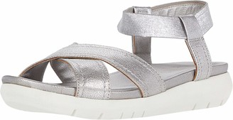 Naturalizer Womens Lily Silver Leather Ankle Straps 5 M