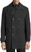 Andrew Marc Mulberry Herringbone Wool-Blend Coat, Charcoal