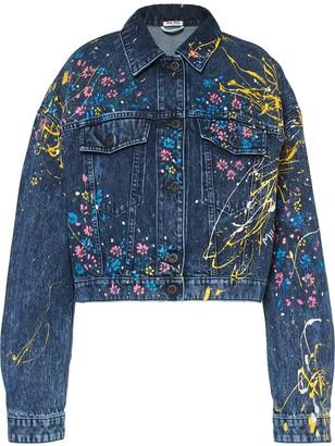 Miu Miu Floral Painted Cropped Denim Jacket