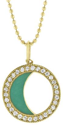 Andrea Fohrman Diamond Moon Phase and Turquoise Enamel Necklace