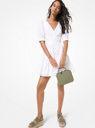 Michael Kors Stretch Cotton Poplin Puff-Sleeve Dress