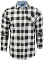 Brave Soul Mens Jack Checked Check Long Sleeve Cotton Lumberjack Shirt Wht - XL