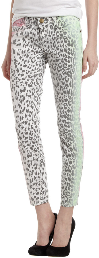 Current/Elliott Stiletto Cropped Jeans, Leopard-Print