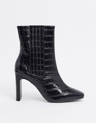 ASOS DESIGN Embark high ankle boots in black croc