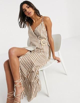 Asos DESIGN cami wrap maxi dress in linen with wicker belt in stripe