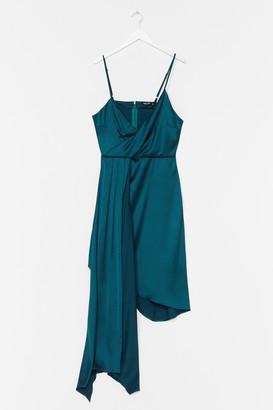 Nasty Gal Womens Plus Strappy Frill Asymmetric Hem Dress - Black - 16, Black