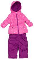 Pink Platinum Toddler Girl Heavyweight Star Print Jacket & Solid Bib Snow Pants Set