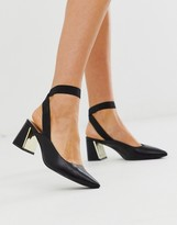 Truffle Collection pointed slingback block heel shoe in black