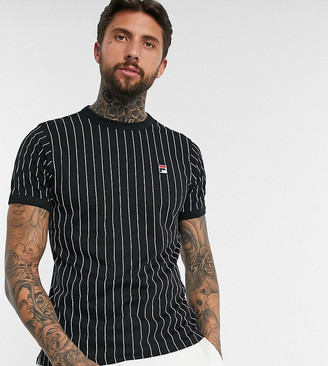 Fila Guilo striped t-shirt in black exclusive at ASOS