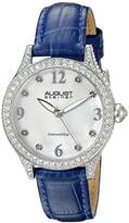 August Steiner Women's AS8188BU Silver Crystal Accented Quartz Watch with White Mother of Pearl Dial and Blue Embossed Leather Bracelet