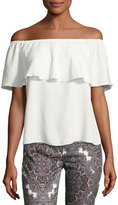 7 For All Mankind Off-the-Shoulder Ruffled Blouse, White