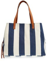 Sole Society 'Oversize Millie' Stripe Print Tote - Blue