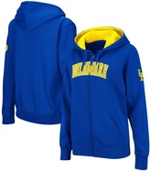 Women's Royal Delaware Fightin' Blue Hens Arched Name Full-Zip Hoodie